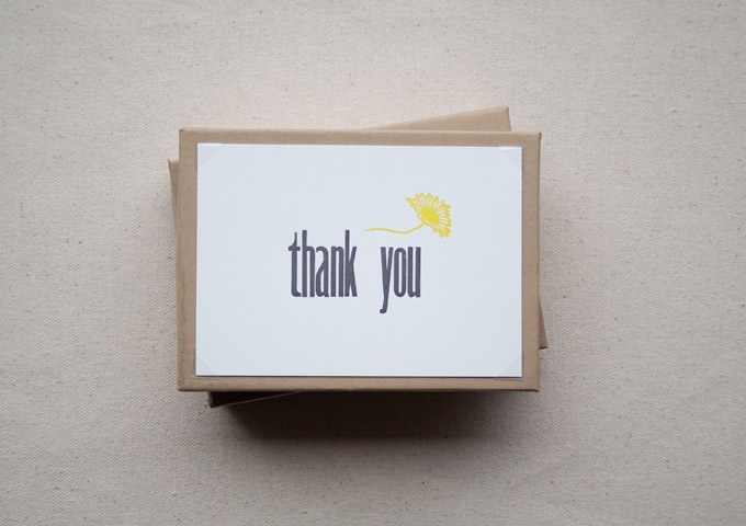 Handmade letterpress thank you cards from constellation co