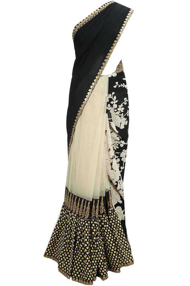 Black and beige hand printed zardosi embroidered sari with black gold jaal blouse available only at Pernia's Pop-Up Shop.