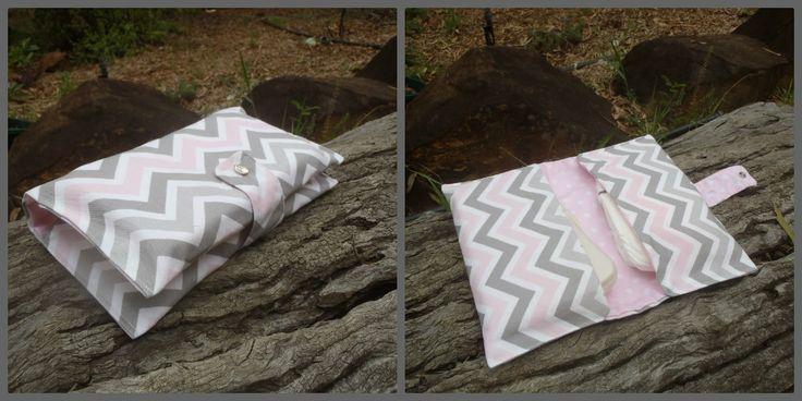 Two pocket nappy & wipes wallet. Pink chevron. $20