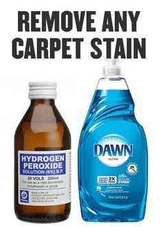 Life Cleaning Hack: Hydrogen Peroxide and Blue Dawn Dish Soap mixed together. Remove any carpet stain (and anything off a mattress as well).