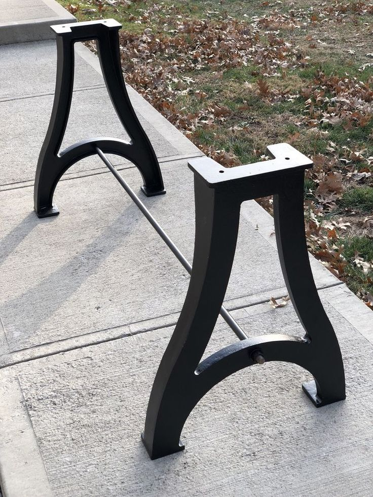 Industrial cast iron table legs base with center bar live edge