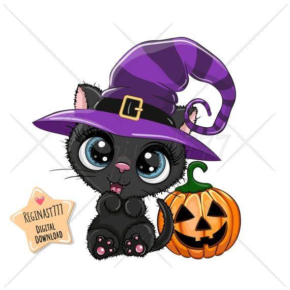 Cute Halloween Black Cat Png Digital Download Clipart Kids Etsy Halloween Cartoons Halloween Illustration Black Cat Halloween