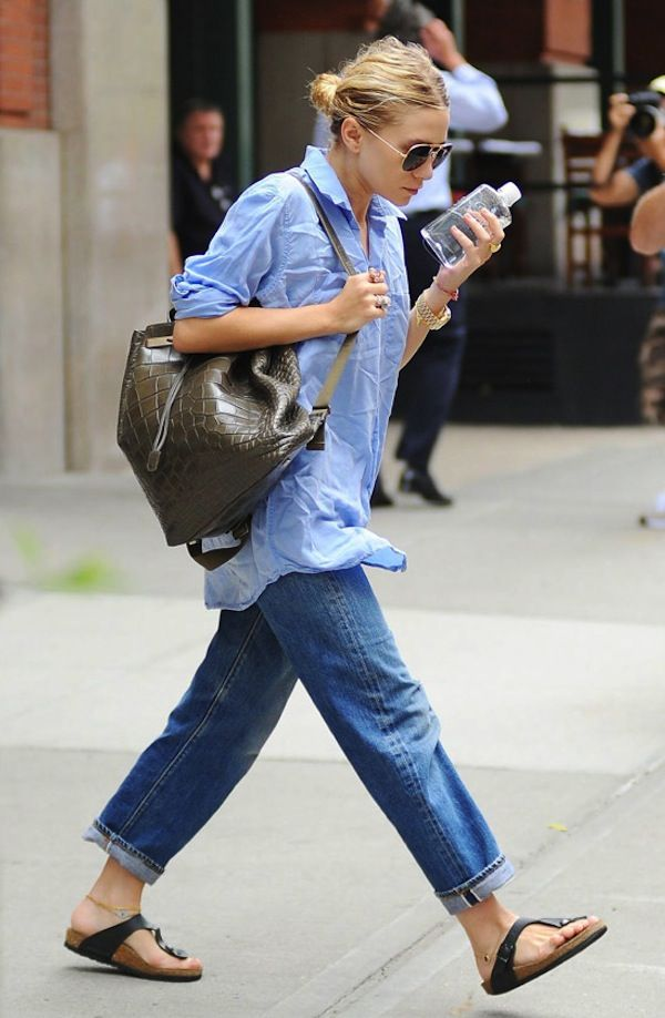Ashley Olsen in her Gizeh Birks - get yours at Englin's Fine Footwear