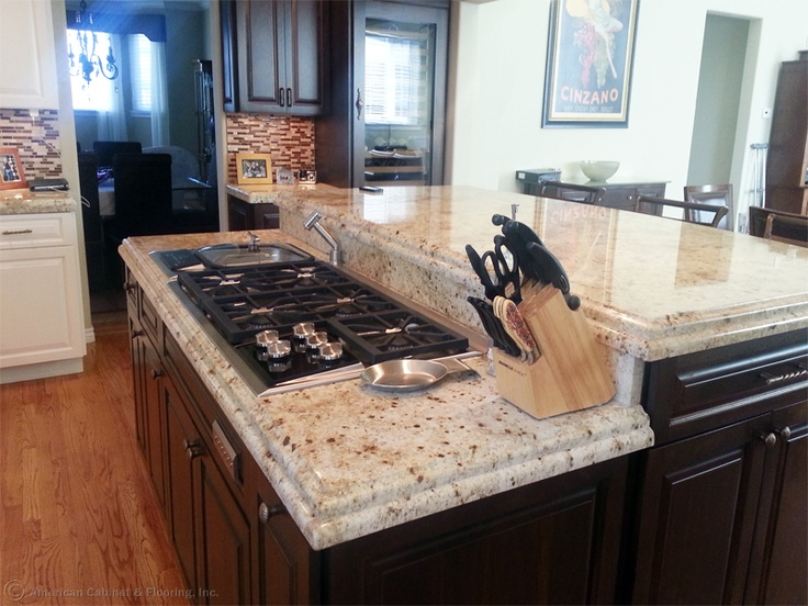... By American Cabinet U0026 Flooring   Alkire Street Countertops   Golden, CO     Colonial Cream Granite With A Stacked Edge    Project Manager: Randy  Wilson