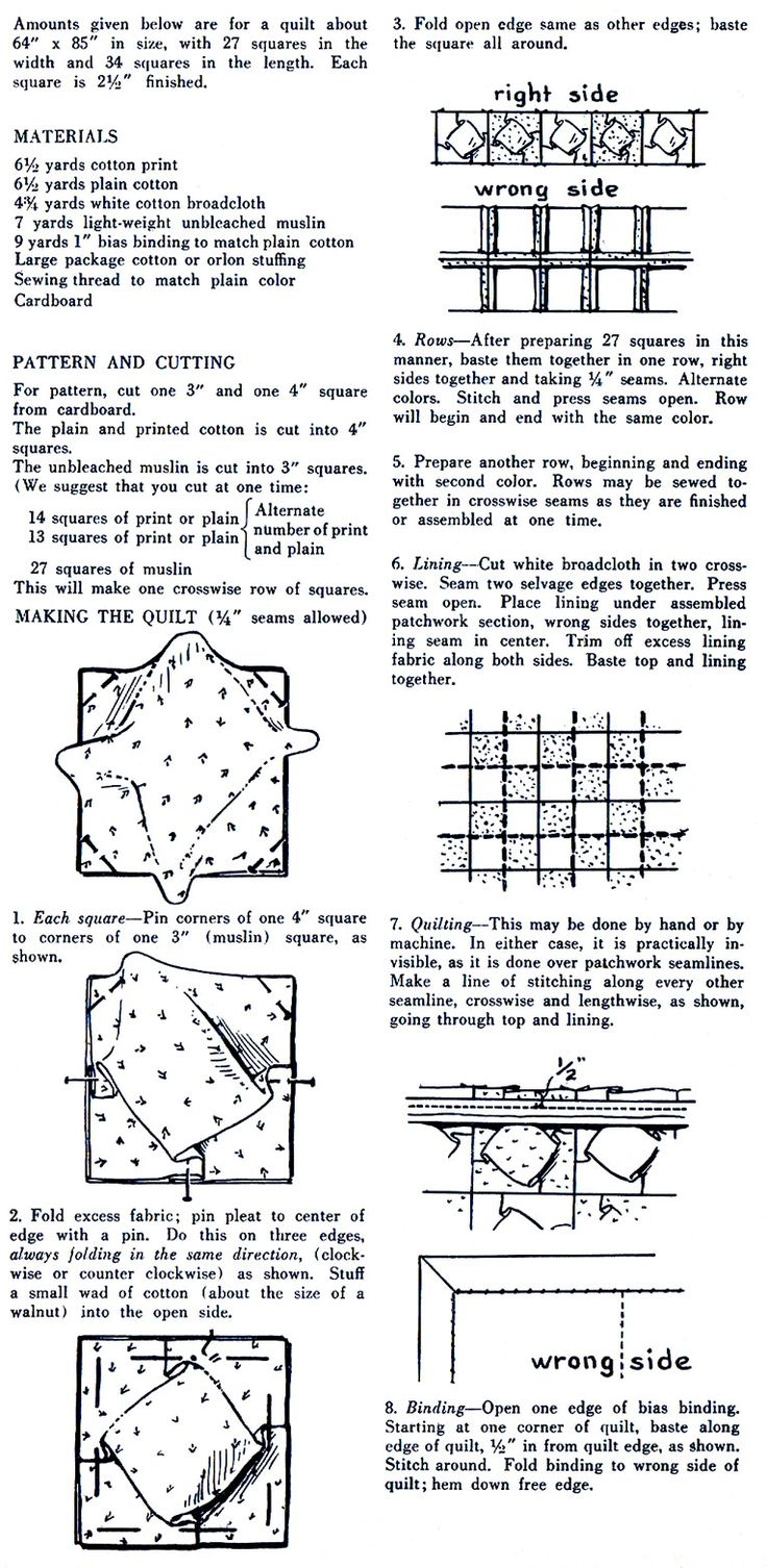 Coloring pages quilt squares - Vintage Puffed Quilt Tutorial For Those Like Me How Don T Have The