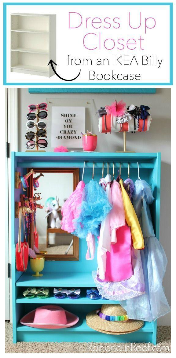 DIY Dress Up Storage for Kids | IKEA Billy Bookcase Hack | DIY Dress Up Closet | DIY Dress Up Station | Kids Playroom Ideas | Kids Dress Up
