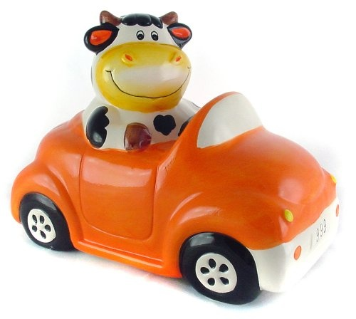 Baby Cow in Car Piggy Bank