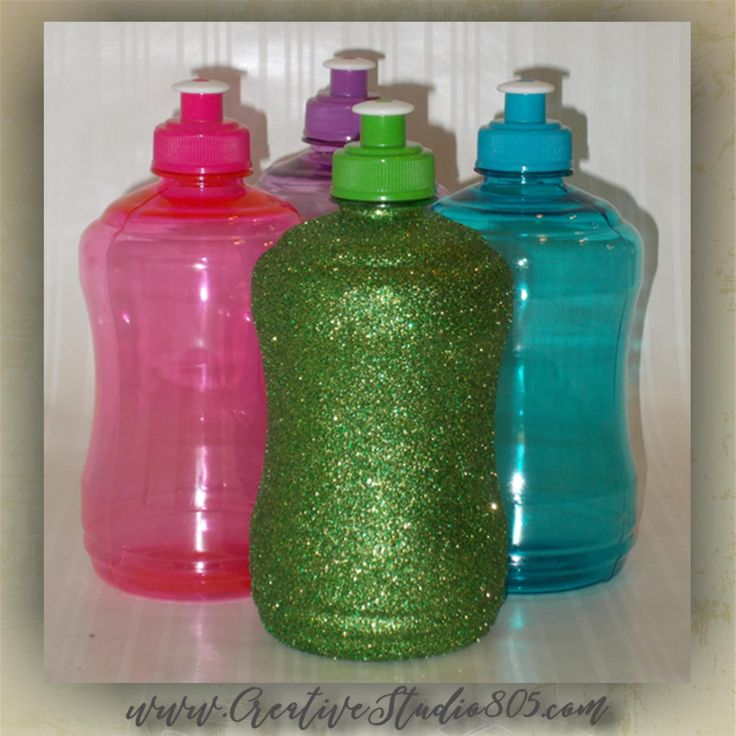Glitter Water Bottles - 25oz bottle with handle - bpa free - glitter decorated - cute water bottles