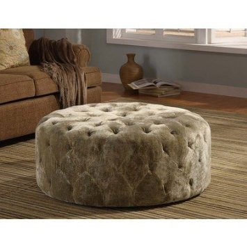 Nice Victoria Round Ottoman In Moss Green Home Design Ideas