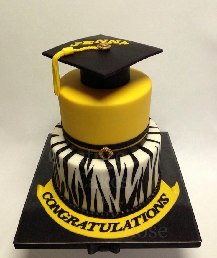 Graduation - A graduation cake I made for a young lady who graduated from high school back in April, 2013. The Zebra stripes on the bottom tier was all free hand cut Wilton black fondant that was rolled out very thinly. Both tiers are vanilla pound cake, filled and frosted with white chocolate ganache. The sugar buttons used on the cap and the second tier can all be found on my Etsy shop.