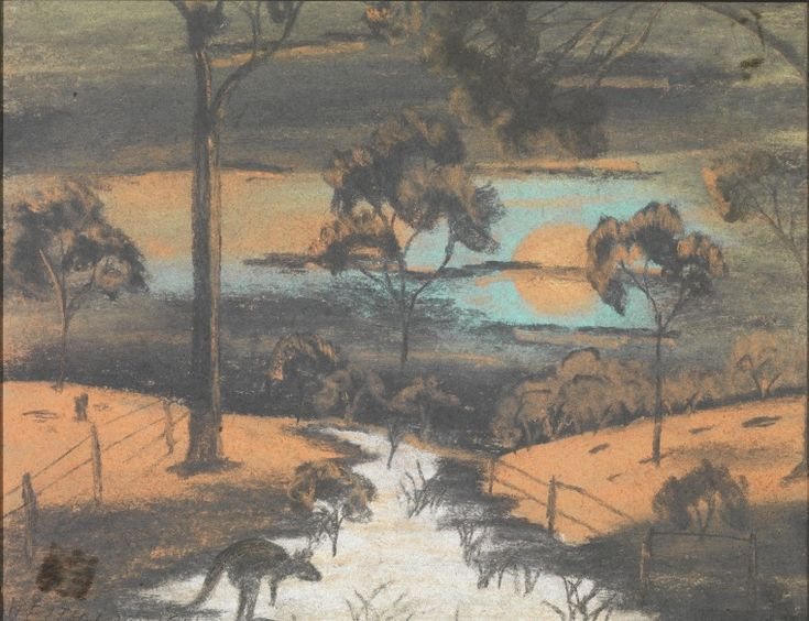 BA726/42: Reflections by Keith Morgan. Crayon drawing by 10 year old Keith Morgan brought to Carrolup Settlement via Katanning in February 1950.   http://encore.slwa.wa.gov.au/iii/encore/record/C__Rb1862570__Sartists%20aboriginal%20__Ff%3Afacetmediatype%3Av%3Av%3APhotograph%3A%3A__P0%2C3__Orightresult__U__X1?lang=eng&suite=def