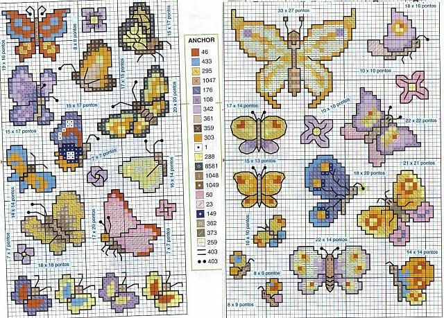 Nice and small cross stitch patterns of butterflies