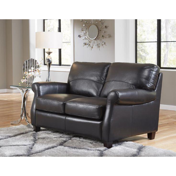 Lazzaro Leather Carlisle Black Loveseat (Black Leather Loveseat) (Fabric)