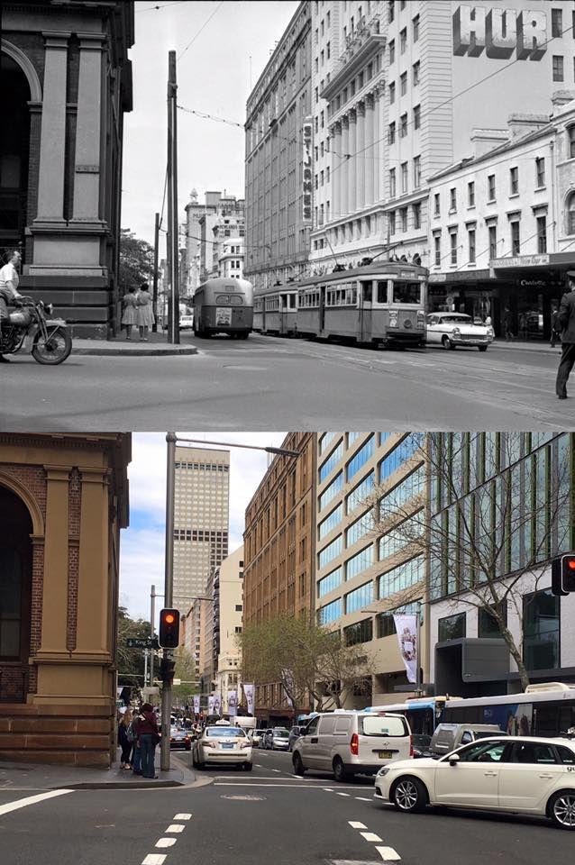 Looking south down Elizabeth Street, Sydney from the corner of King Street 1961 > 2016. [Ian Brady/Trams Down Under Archive > Phil Harvey. By Phil Harvey]