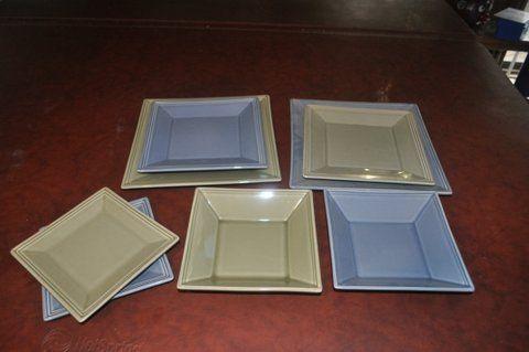 William-Somona Hudon in Sage & Blue. Full set of 8 each.