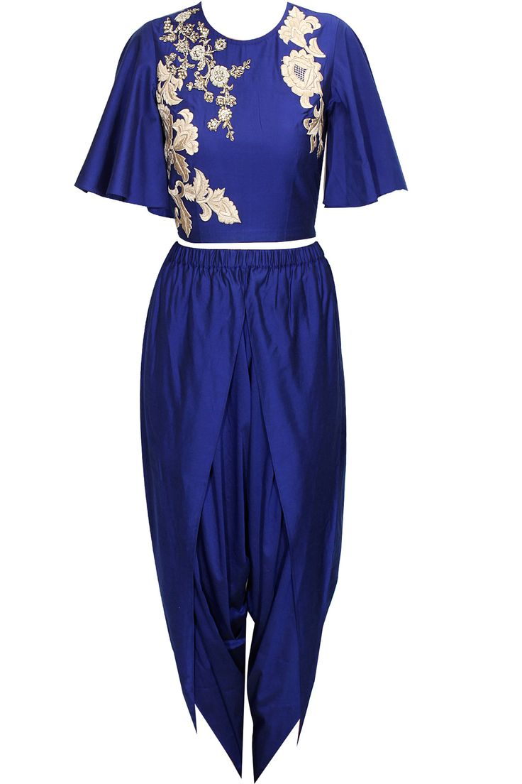 Blue dabka embroidered crop top with draped dhoti pants available only at Pernia's Pop-Up Shop.