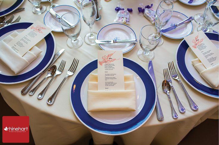 Hand stamped wedding menu, navy and white color scheme, nautical themed wedding, lobster, Spring Lake Wedding Photographer: Bath & Tennis Club