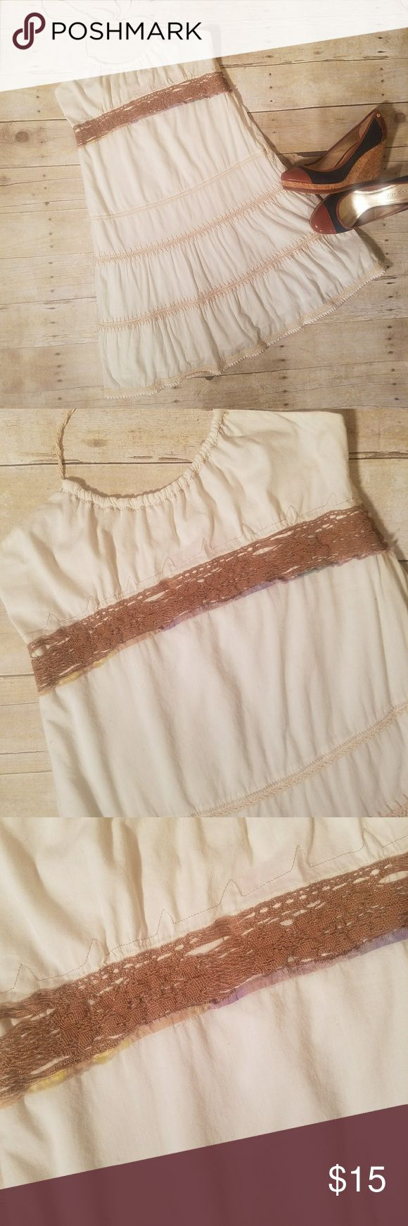 UO Lux Sz 5 white tiered halter sundress Adorable Lux sundress in white with brown stitching and detail. Flaws: label has fallen off, attached currently with pin. Zipper will not go further down than shown. Urban Outfitters Dresses Midi
