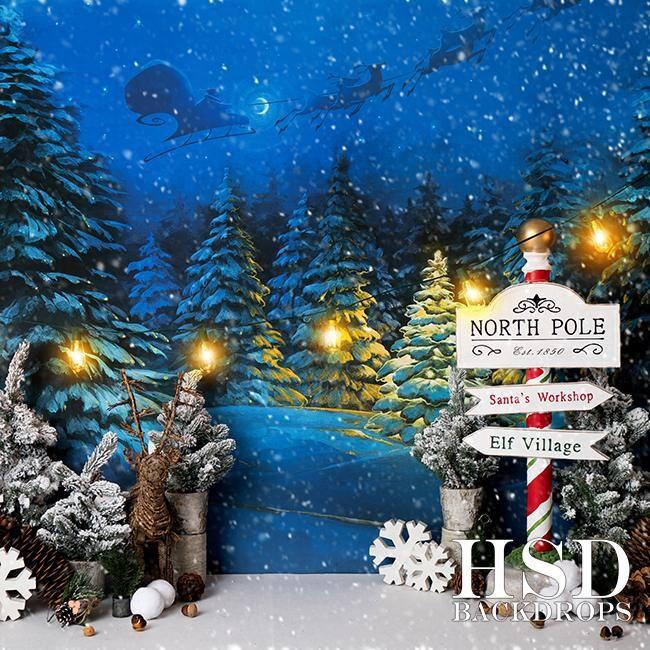 GoHeBe 7x5FT Vinyl Winter Wonderland Backdrop Christmas Time Reindeer Sledge Santas Cottage Photography Background Snow Field Pine Trees Landscape Festival Party Event Portrait Backdrop New Year