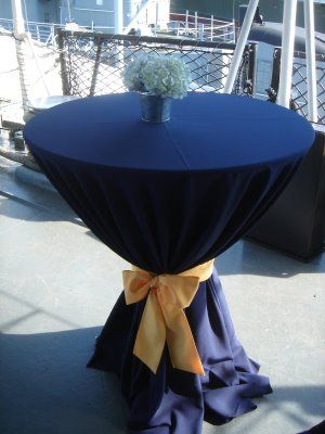 Navy Blue Table with Yellow Ribbon - Classy! #MilitaryAvenue.com