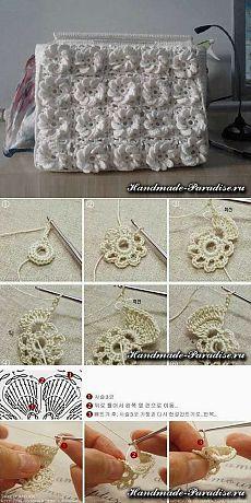 Вязание сумки крючком объемными цветами - Handmade-Paradise
