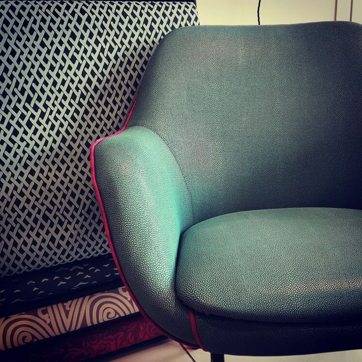 Retro style chair @ farrow and ball wallpaper