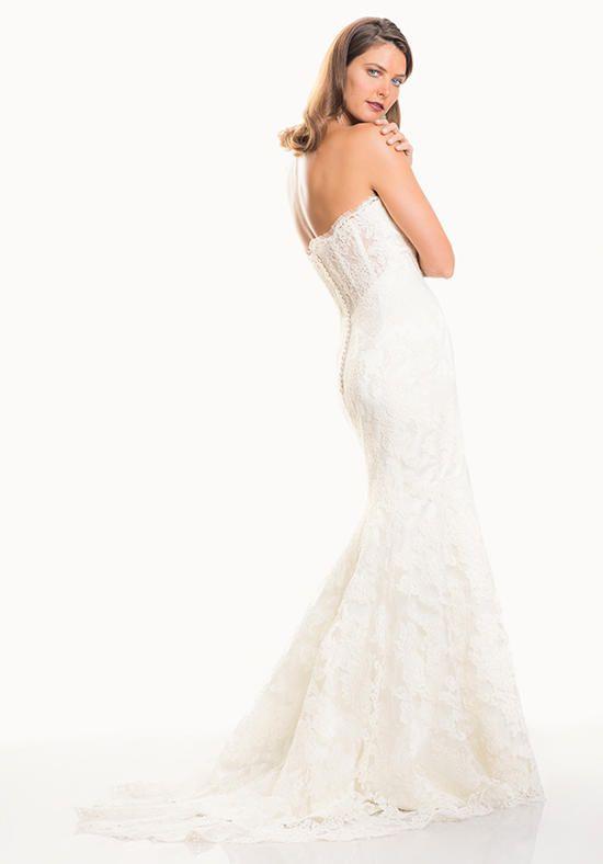 Strapless Alencon Contour Column with Sheer Back   Judd Waddell   https://www.theknot.com/fashion/isabella-judd-waddell-wedding-dress