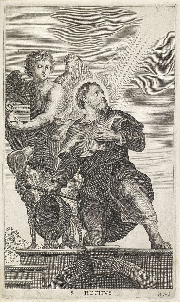 Alexander Voet (I) | H. Rochus, Alexander Voet (I), Anonymous, Peter Paul Rubens, 1628 - 1689 | De heilige Rochus met pelgrimshoed, -staf en hond, wordt belicht door stralen uit de hemel. Achter hem een engel.
