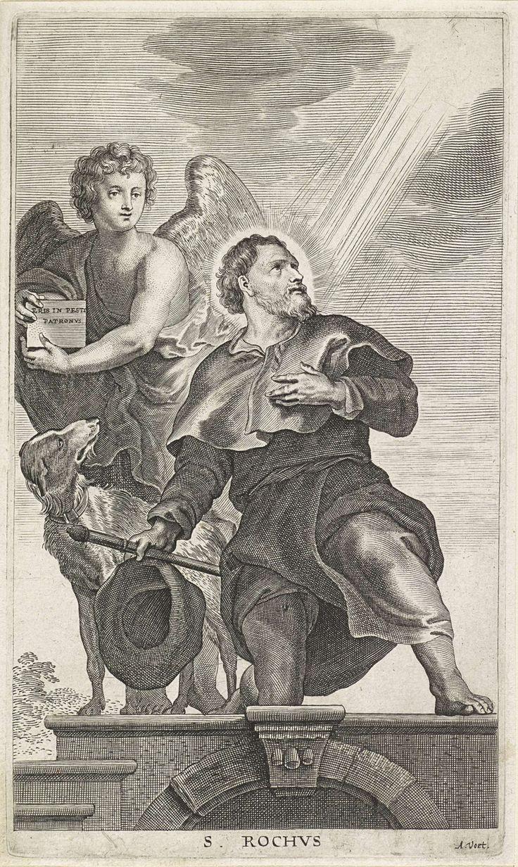 Alexander Voet (I)   H. Rochus, Alexander Voet (I), Anonymous, Peter Paul Rubens, 1628 - 1689   De heilige Rochus met pelgrimshoed, -staf en hond, wordt belicht door stralen uit de hemel. Achter hem een engel.