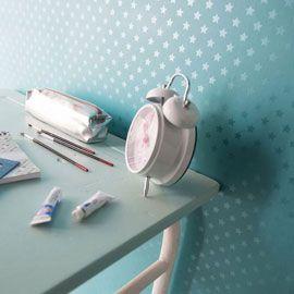 Papier peint sur papier Etoile turquoise mat