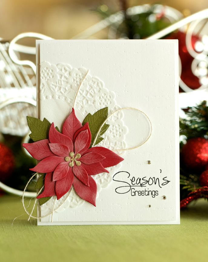 "Classy ""Season's Greetings"" Christmas Card...with lacy doily and red poinsettia...Tracy Ercole - Northridge Publishing."