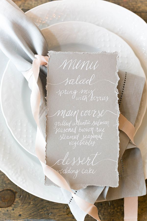 Delicate Calligraphy Menu | Bridesmaid Dresses from Brideside | Styling by Aisle Society | Photography by Emilia Jane | http://heyweddinglady.com/chic-mix-match-bridesmaid-dresses-brideside/