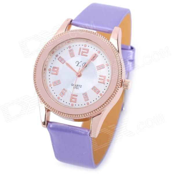 Model 791; Quantity 1 Piece; Color Purple + golden; Band Material PU; Suitable for Adults; Gender Women's; Style Wrist Watch; Type Fashion Watches; Display Analog; Movement Quartz; Display Format 12 hour format; Water Resistant Daily Water Resistant (not for Swimming); Dial Diameter 3.5 mm; Dial Thickness 0.7 mm; Band Length 23 mm; Band Width 1.5 mm; Battery 1 x 626 (Included); Packing List 1 x Watch; http://j.mp/1oTLw3j