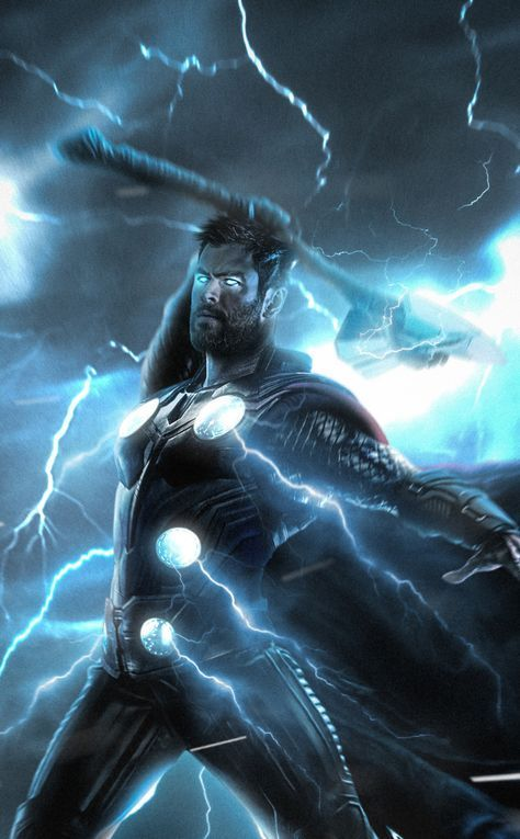 Thor, lightning strike, superhero, 950x1534 wallpaper