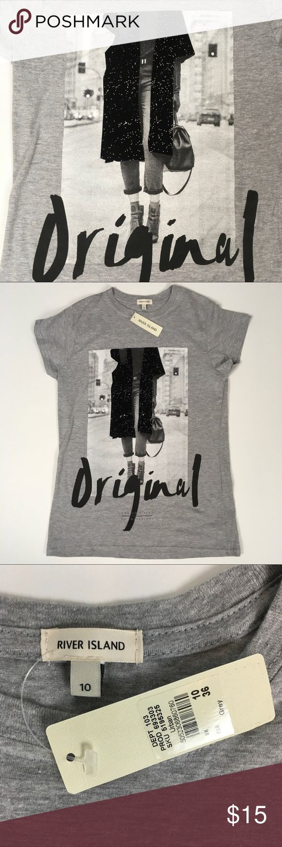 """Hip UK T-Shirt Gray River Island Tee with large graphic in the front. One tag still attached. Designed in London. 17"""" pits to pits. 25"""" long. UK Sz 10, EU Sz 36, US Sz Small. River Island Tops Tees - Short Sleeve"""