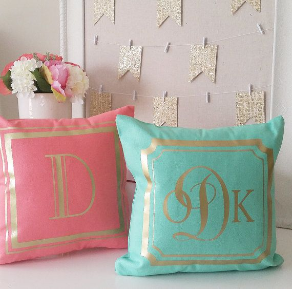 Monogram Throw Pillow Cover - Teal Coral Gray Hot Pink Black Gray Gold or Silver Monogram