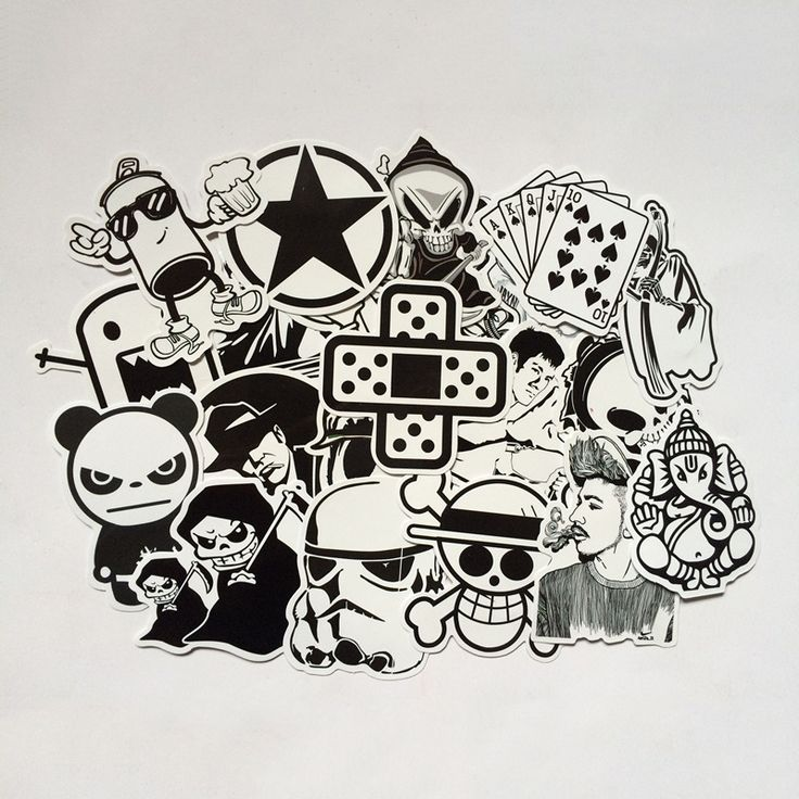 6 Шт. Черный И Белый DIY Наклейки Для Багажа Скейтборд Ноутбука Сноуборд Холодильник Телефон Игрушка Дизайн Домашний Декор Наклейки CTZ13 #jewelry, #women, #men, #hats, #watches, #belts, #fashion