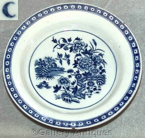 18th Century Worcester Porcelain Blue & White Fence Pattern Round Butter Tub Stand c1775 - 1785 by GalleryAntiques
