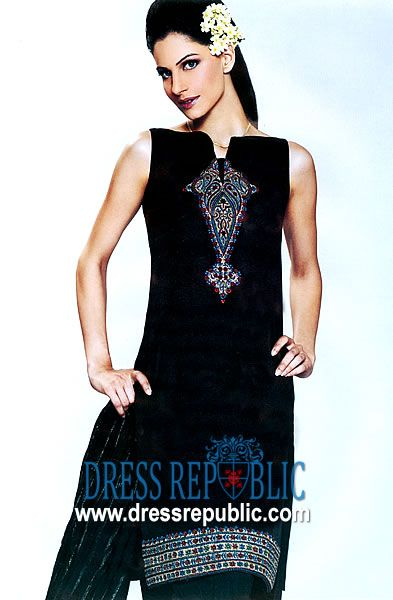 Jet Black Dixon, Product code: DR1357, by www.dressrepublic.com - Keywords: Black Casual Shalwar Kameez Dresses for Pakistani Modern Women