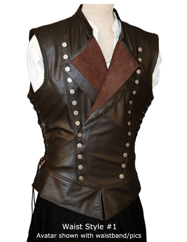 Jerkin Closeup. leather jerkin with lapels to give the chest the appearance of more width.  Jerkin Avatar