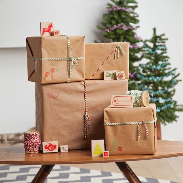 Recycled gift wrapping paper using random christmas stamps