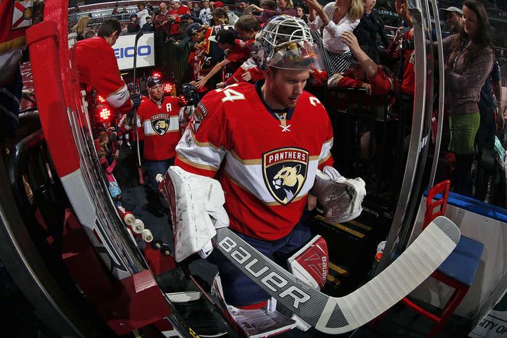SUNRISE, FL - MARCH 14: Goaltender James Reimer #34 of the Florida Panthers heads out to the ice prior to the start of the game against the Toronto Maple Leafs at the BB&T Center on March 14, 2017 in Sunrise, Florida. (Photo by Eliot J. Schechter/NHLI via Getty Images)