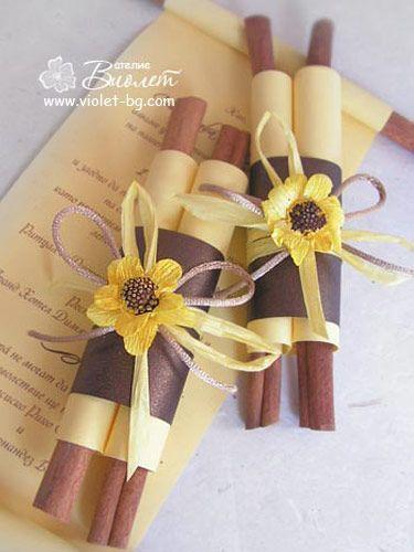 sunflower  brown and yellow wedding invitations, cinnamon sticks