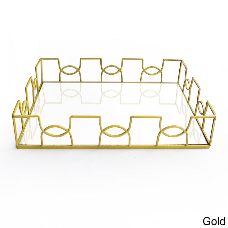 American Atelier Curved Metal and Glass Tray (Gold)