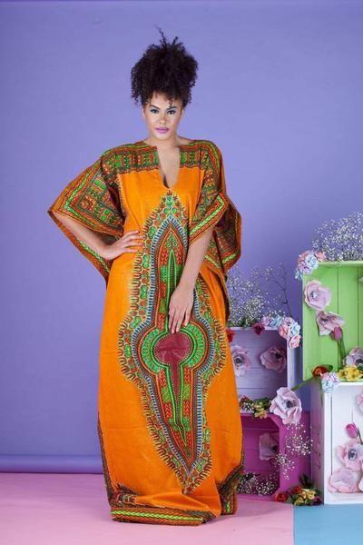 Yellow Dashiki Kaftan Dress – Grass-Fields