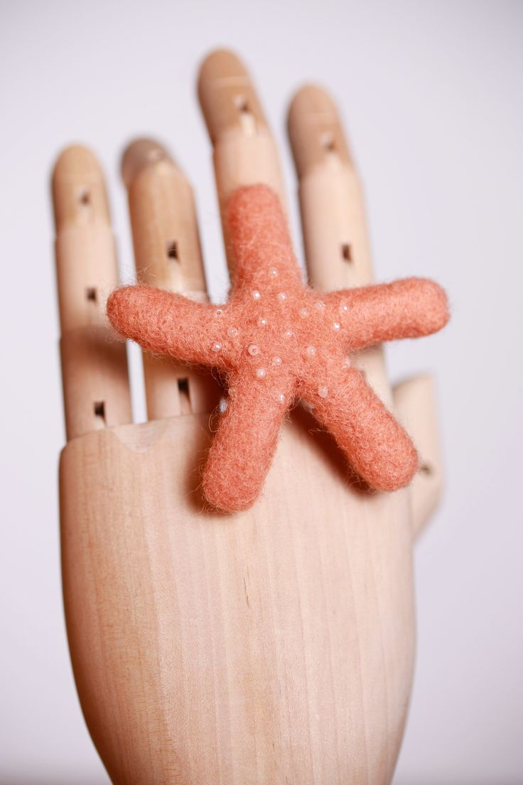 felted starfish ring