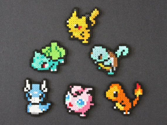 Pokemon perler bead magnets