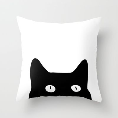 Black Cat Throw Pillow by Good Sense - $20.00 #BlackCat #Black #Cat #GraphicDesign #Animals #BlackandWhite #society6 #pillows #throwpillows #comfy #sleep