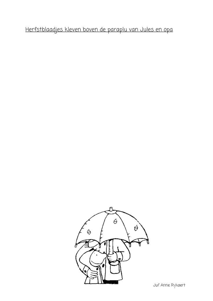 Herfstblaadjes kleven boven de paraplu van Jules en opa