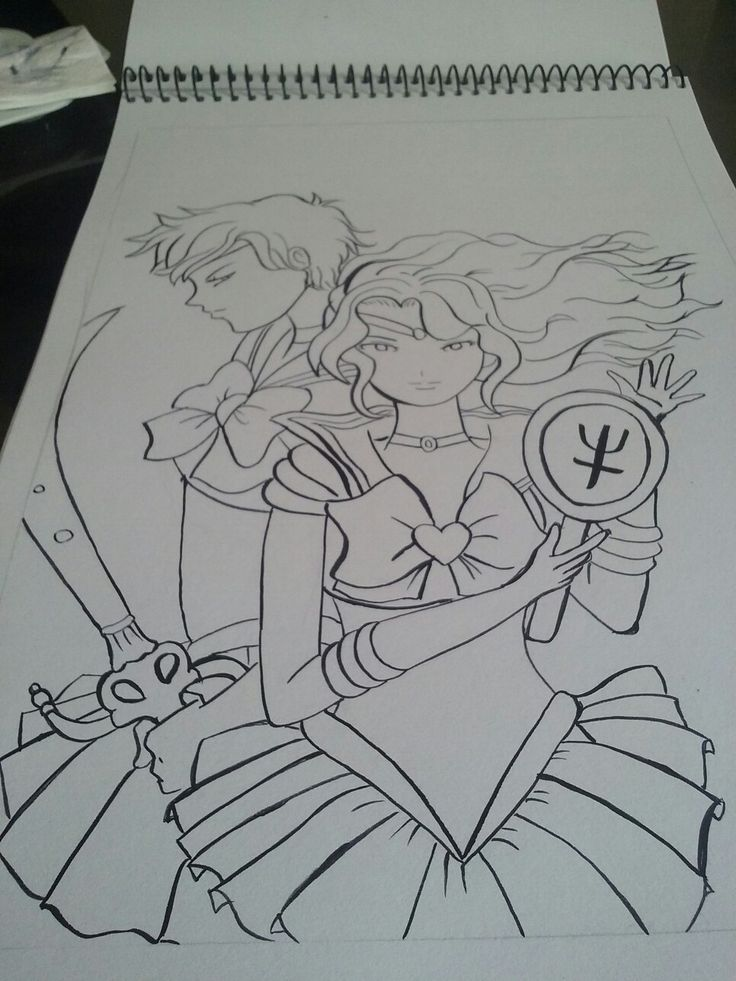Fan art   sailor uranus sailor  neptune